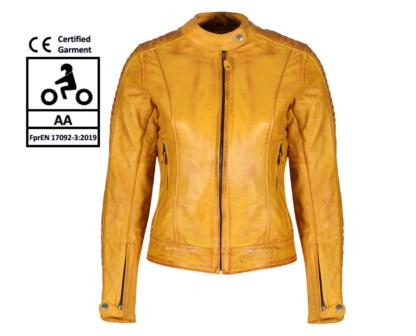 MotoGirl Valerie Yellow Leather Jacket